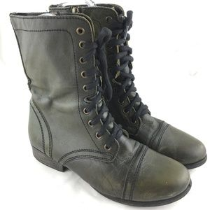 Troopa combat boots black green leather distressed